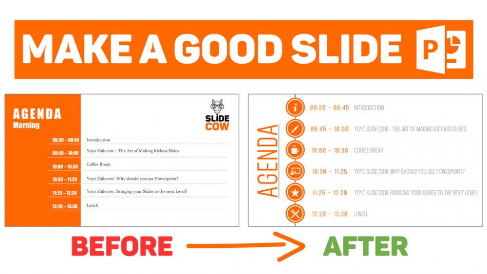Agenda slide before after