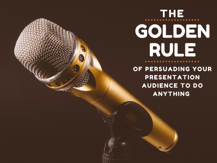 gold microphone with text
