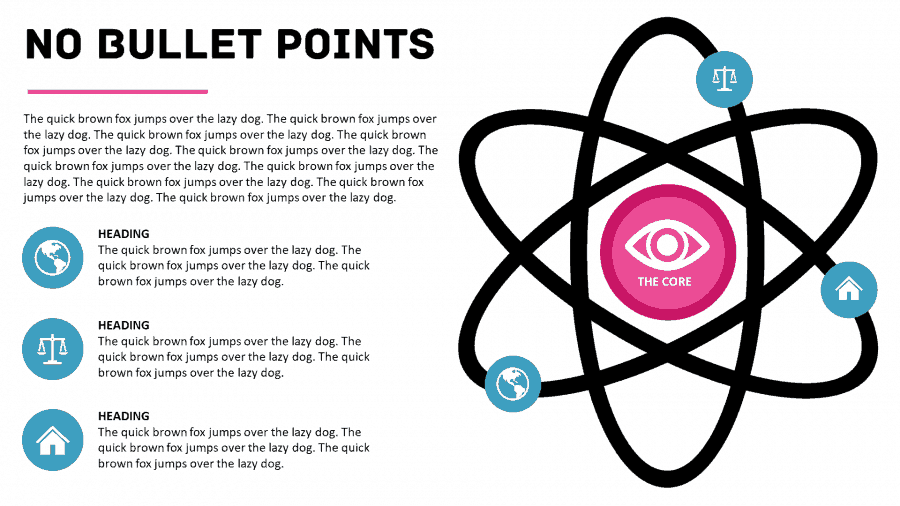 An atom infographic slide made in PowerPoint - the presentation bullet point alternative