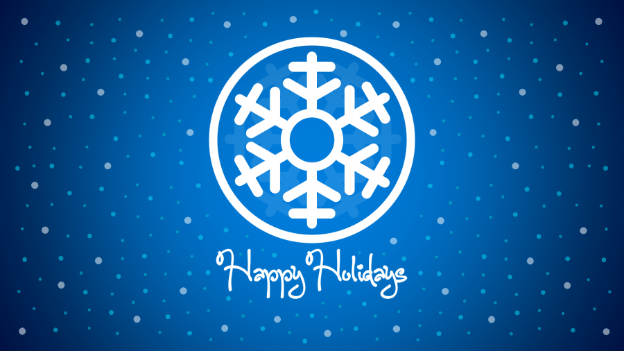 Happy Holidays PowerPoint Slide with Snow Flake in the middle