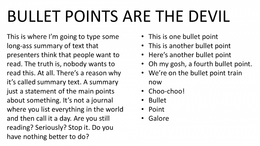 An ugly slide featuring bullet points