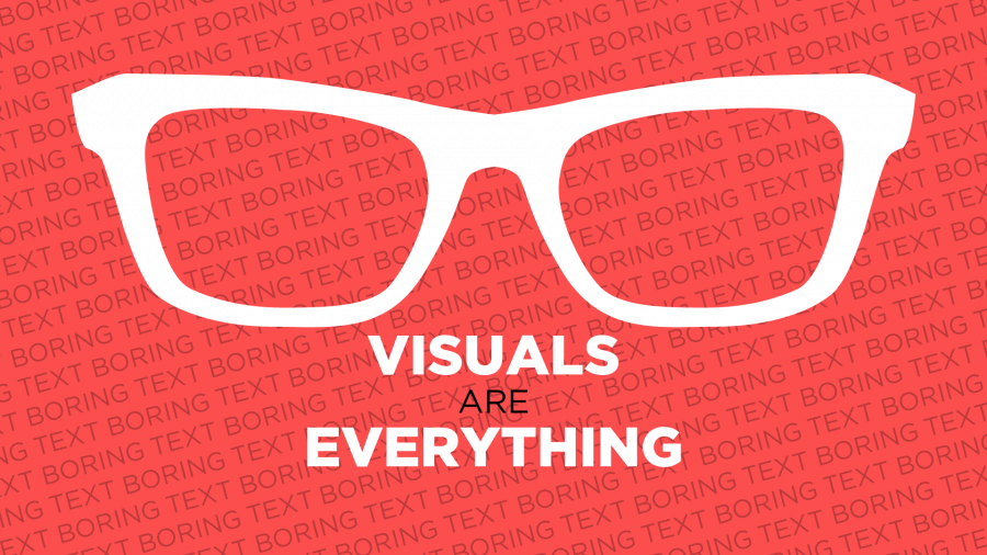 Glasses over text highlighting that visuals are everything