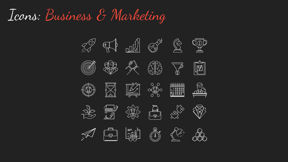 A sample set of icons from the Business Casual PowerPoint template