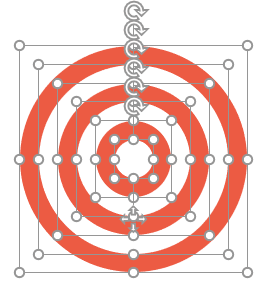 Stackes circles in PPT with different colors to make a dartboard infographic