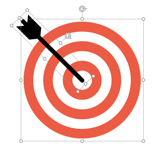 Dartboard and dart put together in PPT to reflect objectives