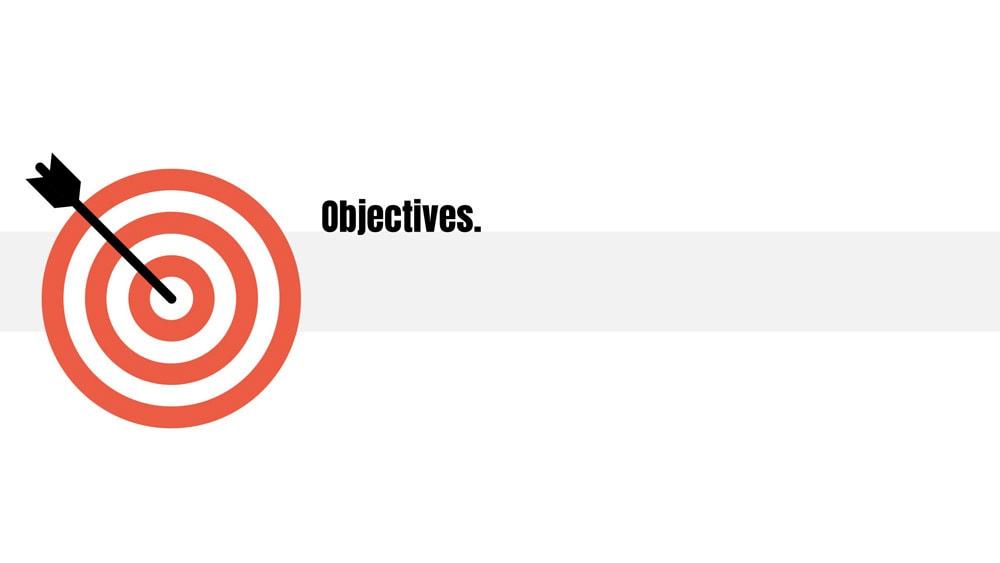 A work in progress slide for presentation objectives