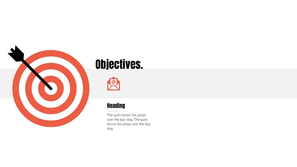 A work in process objective slide with only one objective