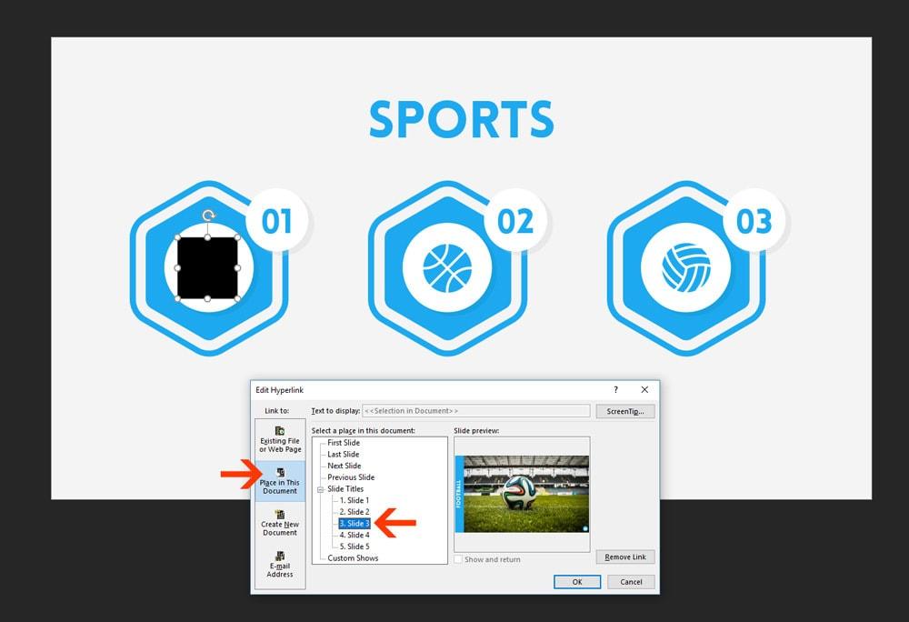 Insert Hyperlink Dialog Box in PowerPoint