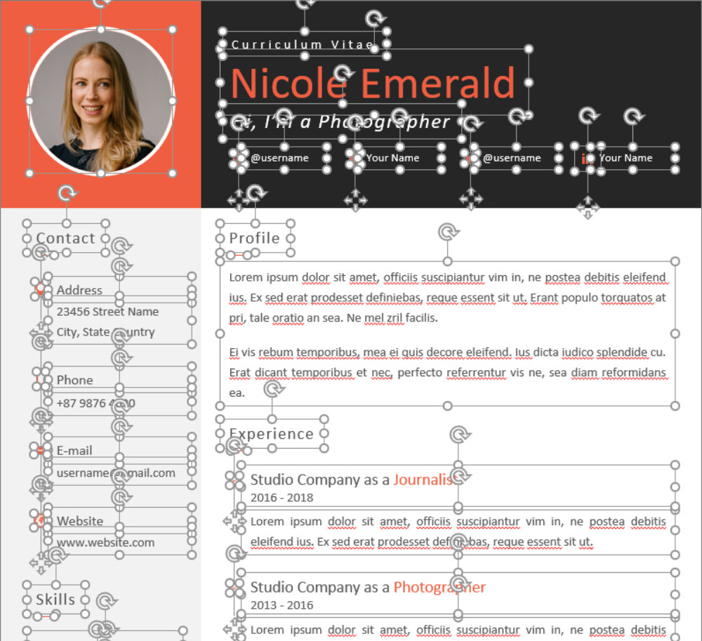 Editable CV Template in PowerPoint