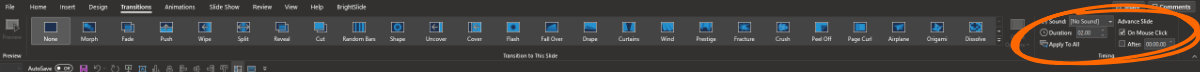 PowerPoint Transitions tab highlighting the Timing section